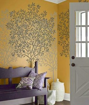 Big statement decorative wall paint features for your home Stencil Large OLIVE Tree Wall STENCIL by OliveLeafStencils