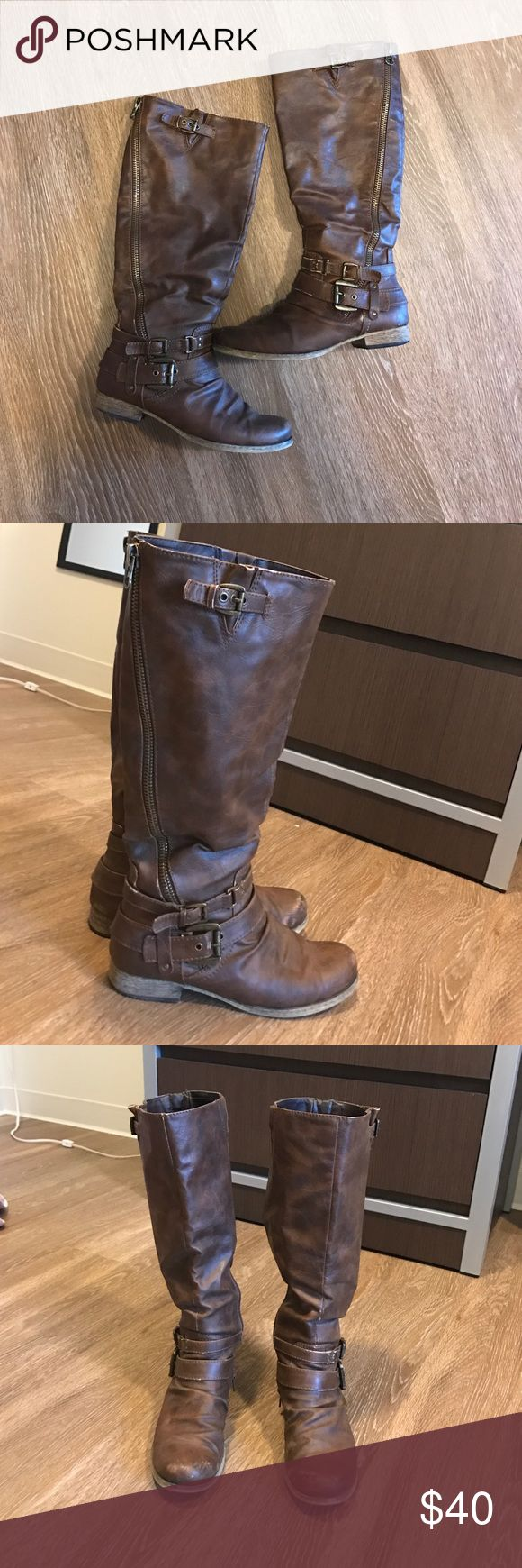 tall carlos santana boots do have some scuffs (as pictured) as they are real leather. gives them a more authentic look, hardly noticeable when looking at the overall boot Carlos Santana Shoes Heeled Boots