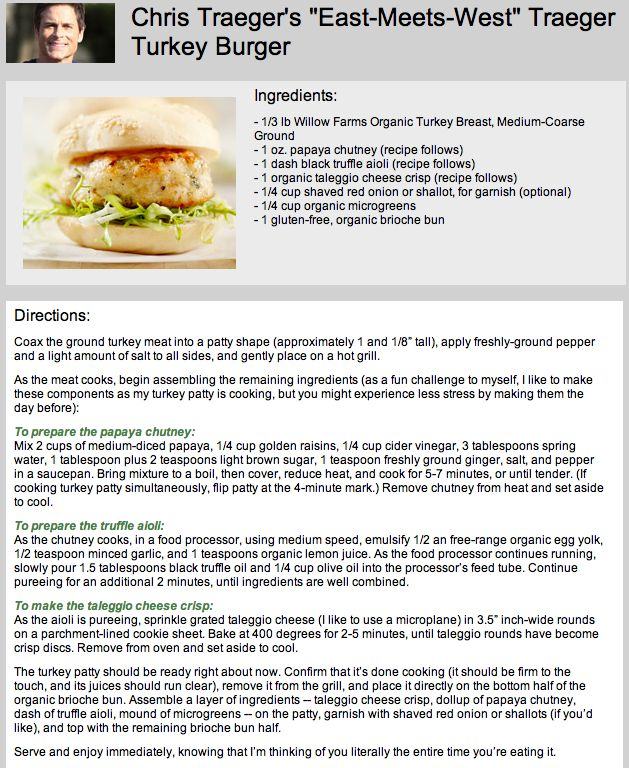 "A Recipe For Chris Traeger's ""East-Meets-West"" Traeger Turkey Burger"