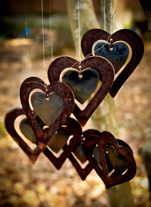 Metal Hearts windchimes