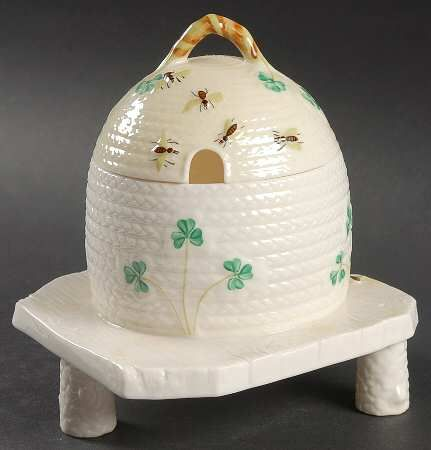 Belleek Pottery (Ireland) Shamrock Honey Pot with Lid and Attached Plate