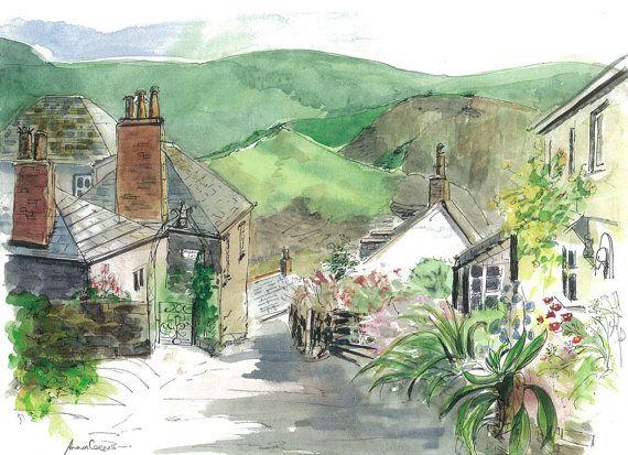 #Landscape #Watercolour Print, Rose Hill, Port Isaac / Port Wenn, #Cornwall, 5% of profits to Cornwall Air Ambulance Trust