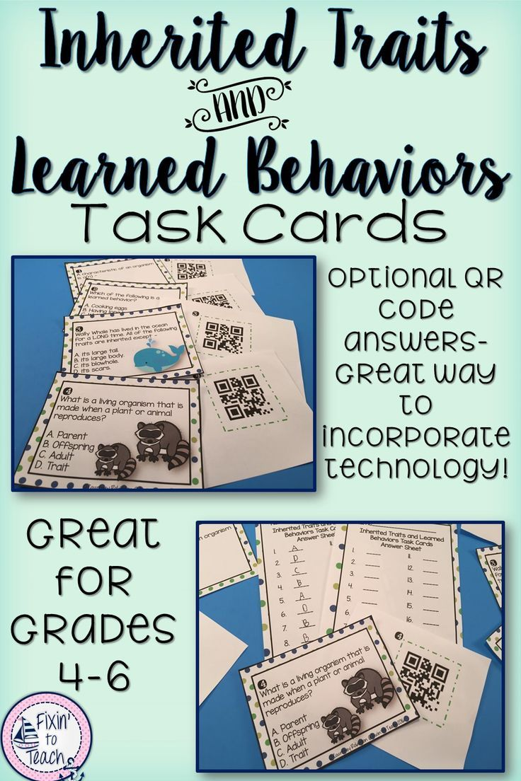 inherited traits and learned behaviors task cards qr code answers students cards and learning. Black Bedroom Furniture Sets. Home Design Ideas