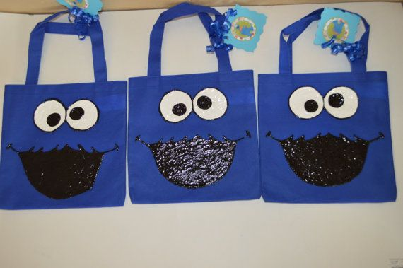Sesame Street Cookie Monster Birthday Party Mini Personalized Tote Bag Trick Or Treat Pinterest