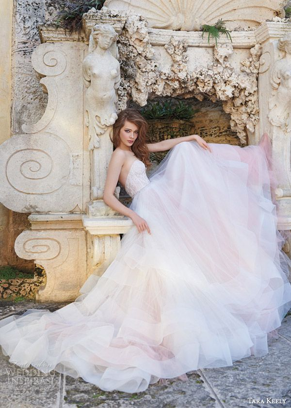tara keely bridal spring 2015 wedding dress style 2510 sherbet strapless tulle ball gown lace corset crystal belt