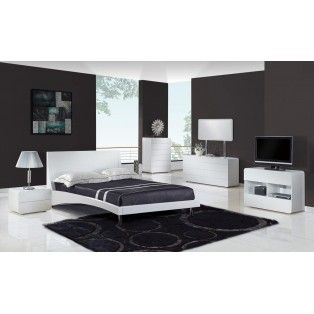this modern bedroom set features a smooth white glossy finish that will bring your room to life this item reflects the queen size price and includes 2