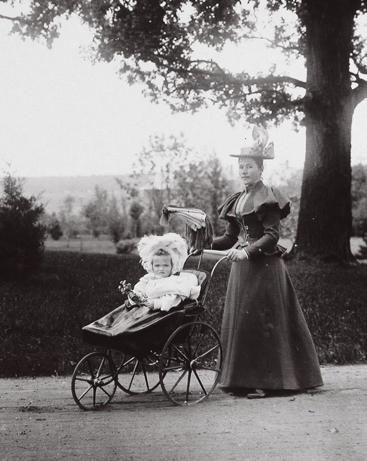 "Romanov Imperial Russia: ""Grand Duchess Olga Nikolaevna, eldest child of the Emperor Nicholas II, photographed during a walk in the park with her nanny, in 1897."
