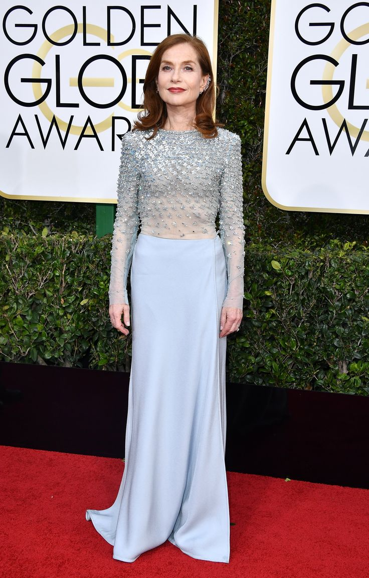 Isabelle Huppert in Armani Privè and Repossi jewelry, 2017 Golden Globes