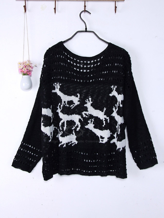 $11.25 Sweet Scoop Neck Fawn Print Openwork Design Long Sleeve Plus Size Christmas Sweater For Women (WHITE,ONE SIZE) China Wholesale - Sammydress.com