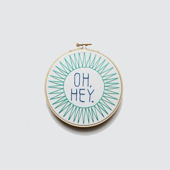 Oh Hey Embroidery Hoop art by Sarah K Benning on Etsy