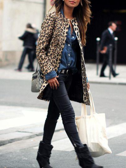 Manteau léopard imprimé manches longues -jaune