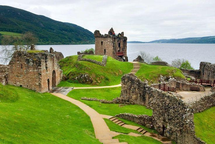 Szkocja, Ruiny, Nad, Jeziorem, Lochness