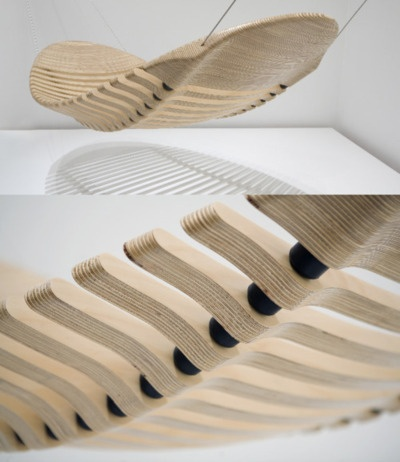 The 'Wooden Hammock' by Melbourne design legend Adam Cornish, 2011 Winner of the Herman Miller Asia Pacific Yves Behar Design Competition.    Designed as an alternative to the common cloth hammock this unique sculptural form is anything but common. Flexible, comfortable and mimicking the human spine the Wooden Hammock is a premium design product where each detail has been carefully considered.    Price: $3500  Available from: Adam Cornish Design