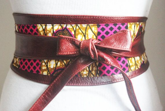 Ankara Pink Print and Brown Leather Obi Belt  wax by LoveYaaYaa