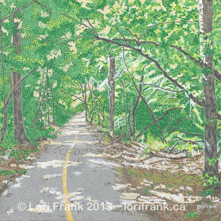 """This is the first """"trail"""" painting of my Edmonton river valley series. It's called """"A Jess Summer Trail"""", acrylics on canvas 20"""" x 20"""". Giclee prints are now available. www.lorifrank.ca"""