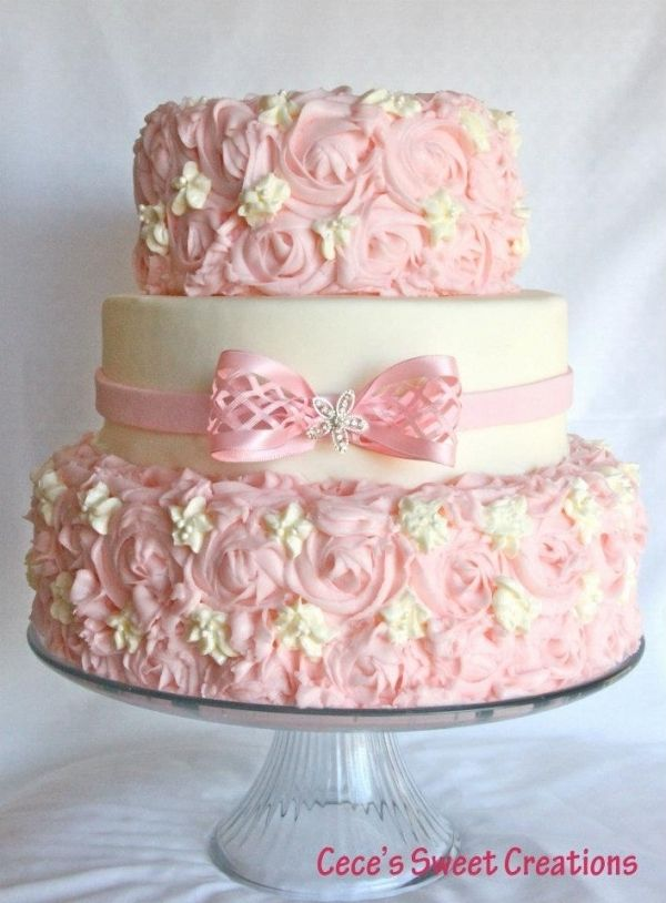Pink Rosettes Cake, love the detail in this cake. Would be great for even a bridal shower if it doesn't fit your wedding theme.