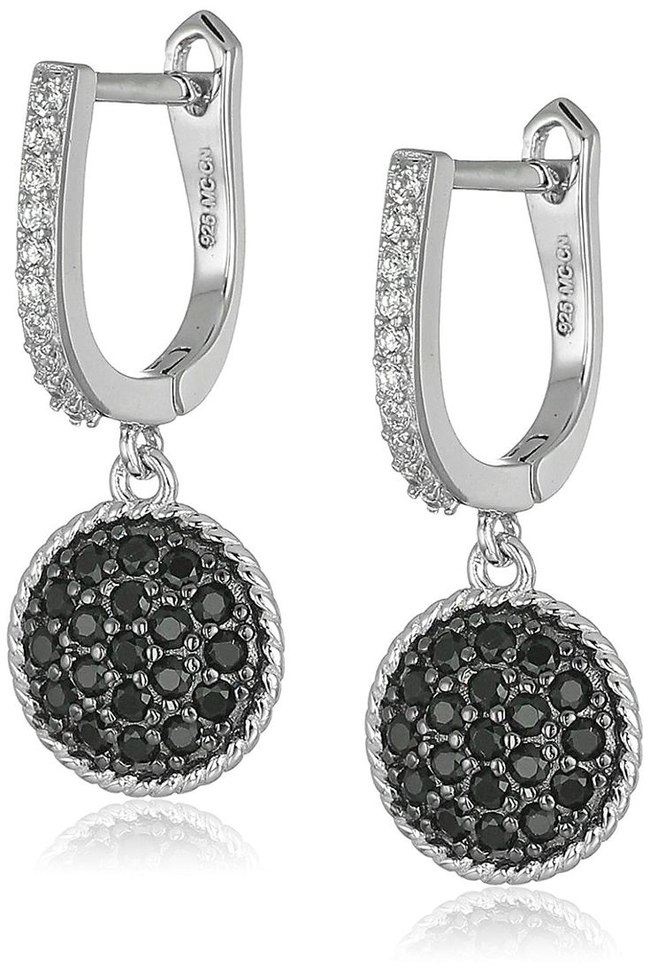 Sterling Silver Black and White Cubic Zirconia Round Dangle Earrings * See this great product. (This is an Amazon Affiliate link and I receive a commission for the sales)