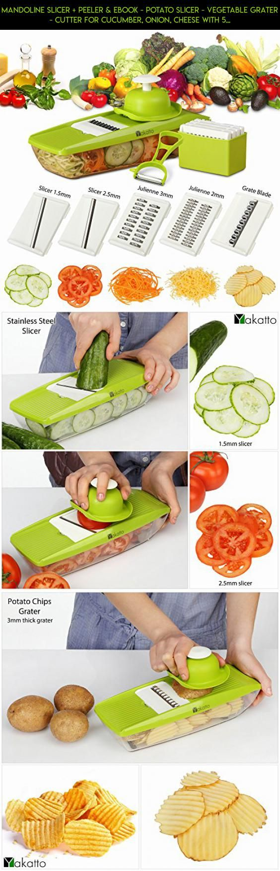 Mandoline Slicer + Peeler & eBook - Potato Slicer - Vegetable Grater - Cutter for Cucumber, Onion, Cheese with 5 Stainless Steel Blades - Julienne Vegetable Slicer - Food Container - Mandolin #outdoor #parts #plans #kit #gadgets #racing #prep #technology #products #camera #drone #tech #cooking #fpv #shopping #food