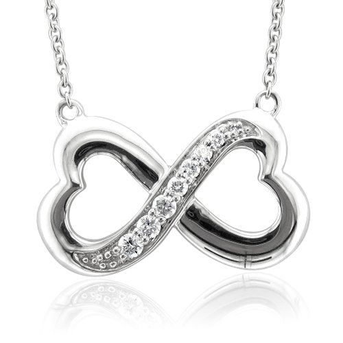 Sterling Silver Infinity Heart 7 Stone Diamond Pendant Necklace (GH, I1-I2, 0.25 carat) - Christmas 2011 gift from my beloved <3 - I wear this every single day.
