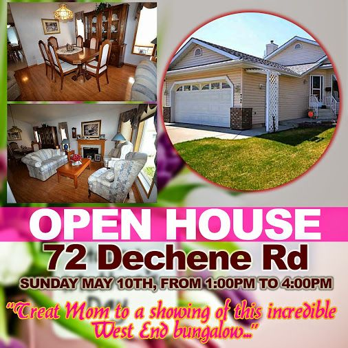 72 DECHENE ROAD OPEN HOUSE - MOTHER'S DAY SPECIAL!   Come to our Open House on Sunday, May 10th from 1:00 - 4:00 PM  It's time you treat your mom to a showing of this incredible West End bungalow!  View complete details of the property here: http://ow.ly/MK6Kn   #edmontonopenhouse #openhouse #mothersday #decheneroad #edmontonrealestate #edmontonhomesforsale