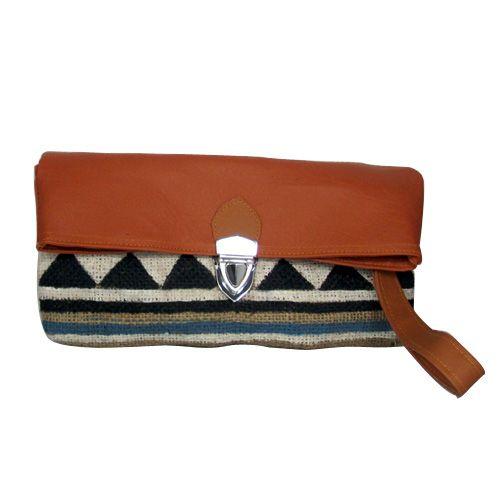 Folded Brown Tribal Clutch - http://www.slightshop.com/produk/folded-brown-tribal-clutch/