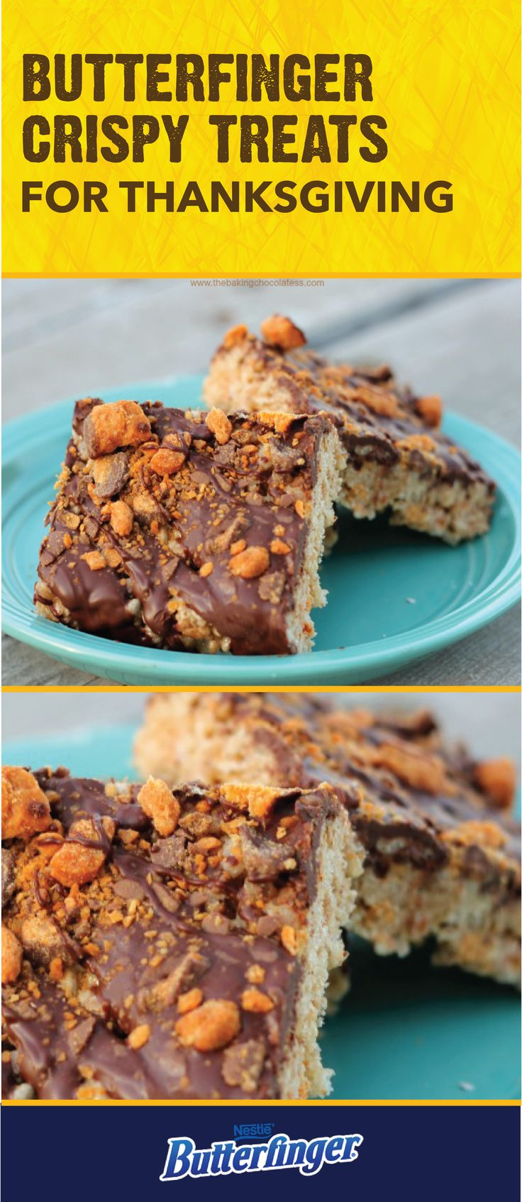There's no better way to celebrate fall than with the crispety, crunchety, peanut-buttery taste of these Butterfinger Rice Cereal Treats. Start by combining rice cereal, mini marshmallows, and peanut butter into a sweet no-bake treat. Then, top with a layer of melted chocolate chips and BUTTERFINGER® Bites. Click here to see the full dessert recipe.