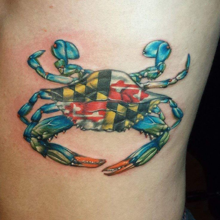 Blue crab with Maryland flag in the middle done by Robert Vendemmia of Tattoo Alchemy in Frederick MD