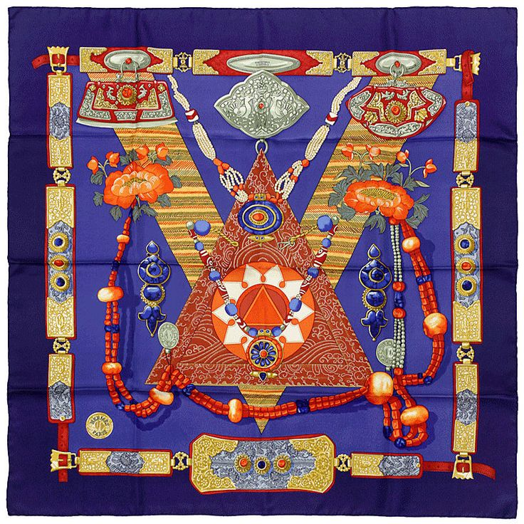 "Artist: Caty Latham. Measurements: Approx. 35"" x 35"" (90cm x 90cm). Title: Tibet. Material: 100% Silk twill. Pristine mint condition with no imperfections of any sort. Perfectly plump hems, silk is crisp to the touch and drapes gorgeously. 