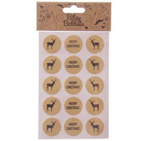 Autocollants thème Renne de Noël - 60 Stickers par paquet