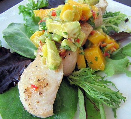 Wk 1: Thurs. Fish with Mango Avocado Salsa. Won't be using shark! Whatever thick white fish looks good at the fish shop. Got a tray of mangos on the weekend for $8! The man will probably need more starch so will most likely do some roast potatoes for him and half a roast sweet potato in its jacket for me (1hr in oven @ 175° C wrapped in foil).