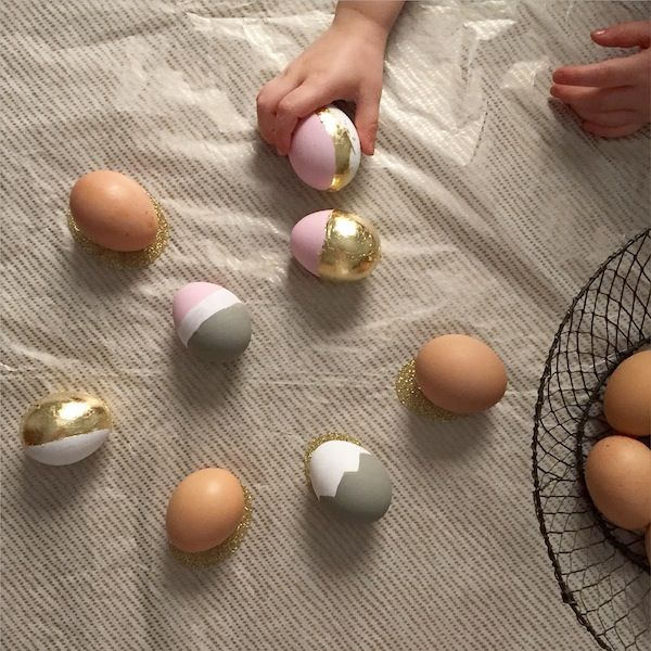 Easter egg decorations  http://www.theindigocrew.com/2015/03/painted-gold-leaf-easter-eggs.html