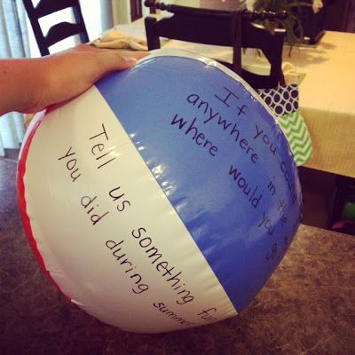 Monday Made It {Beach Ball Activity}  I made this and I just changed the questions. I found the ball at Target for about $1.50. Easy and inexpensive!