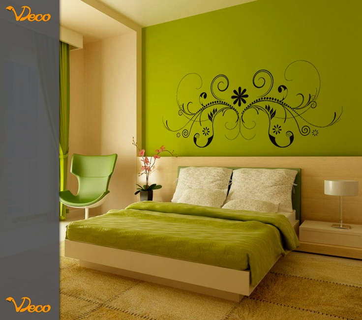 Floral sim trico para pared puede utilizarse como for Vinilos pared dormitorio matrimonio