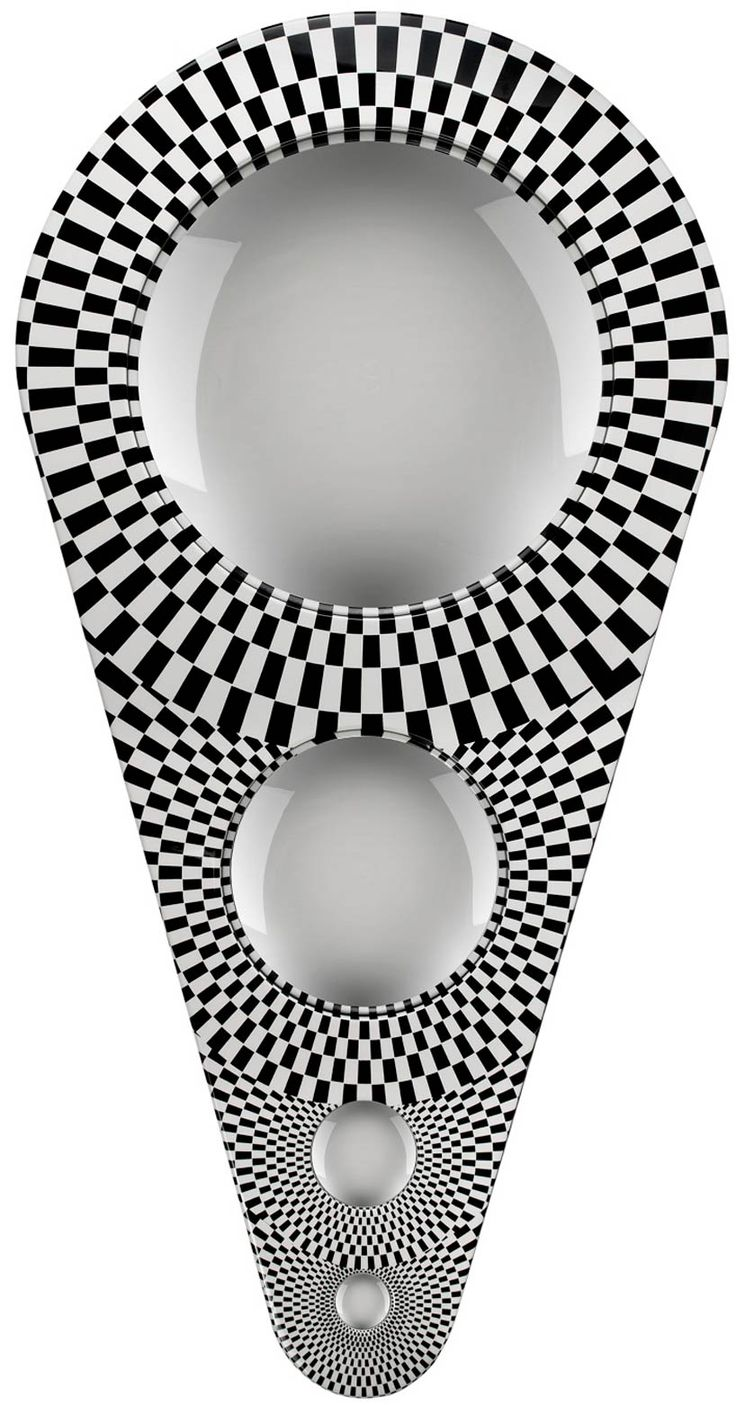 'optical measurement descending four convex mirrors framed in wood' four convex mirrors with wooden frames decreasing in size. 135mm