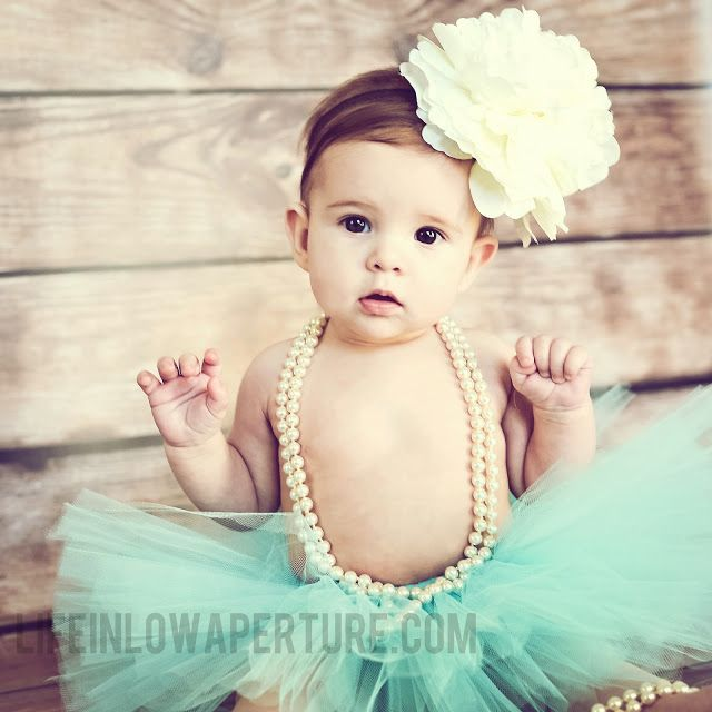 Tiffany teal couture tutu set with oversized ivory flower headband newborn photography prop