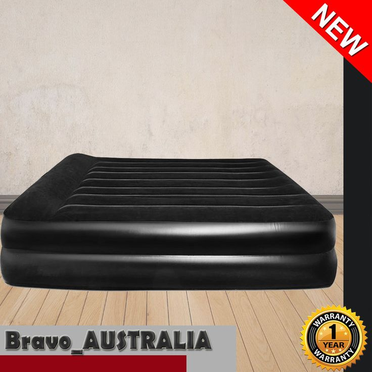 Queen Air Bed Bestway Inflatable Camping Flocked Mattress with Built-in Pump