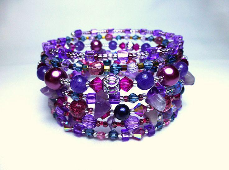 Feuilles d'argent, perles de culture d'eau douce, améthystes, cristal, bracelet manchette : Bracelet par paris-franquette