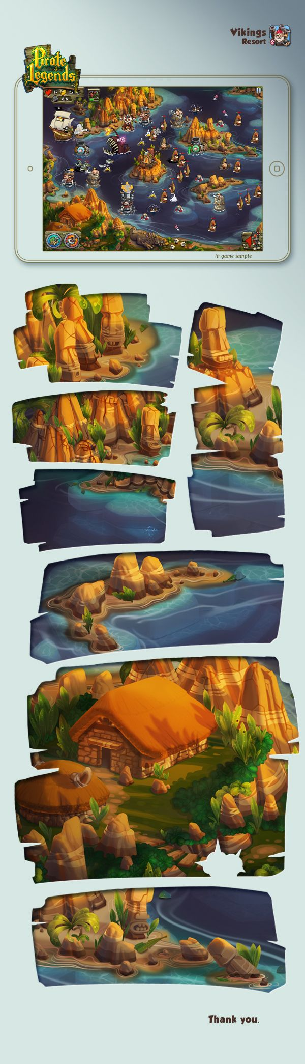 Pirate Legends TD Background 2 by Adrian Andreias, via Behance