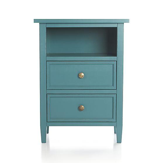 Best Harbor Blue 2 Drawer Nightstand In Nightstands Crate And 400 x 300