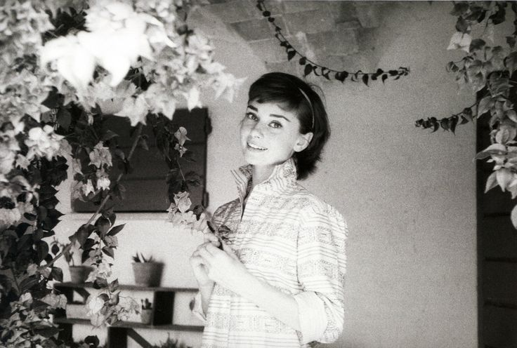 Hepburn and flowers.