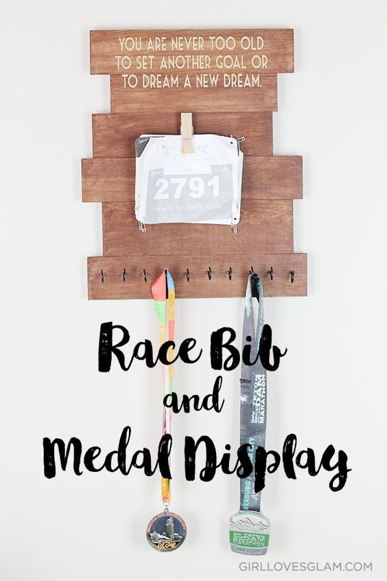 Race Bib and Medal Display on www.girllovesglam.com