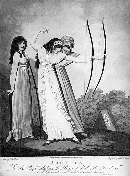 """Archers"", an April 1799 ""pin-up"" type print, engraved after a drawing by Adam Buck, and with a dedication to the Prince Regent. At the time, archery was one of the few competitive sports that adult women of the ""genteel"" classes could respectably engage in (others were battledore/shuttlecock -- a precursor to badminton -- and for a tiny social elite, old-fashioned ""court tennis"")."