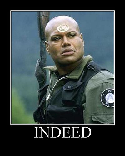Teal'c's simple, yet effective catchphrase. People probably wonder why I say Indeed so much...