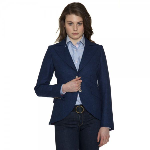 The Lily is a beautifully #tailored jacket. The fabric is a rich blue cobalt #tweed - designed and woven in our mill in #Donegal. Features include - 1960's lapels, 2 buttons, pink contrast under-collar, working cuffs, maroon elbow patches, slanted pockets with an outer ticket pocket, side vents. The style is cut away at the front and tapered down at the back