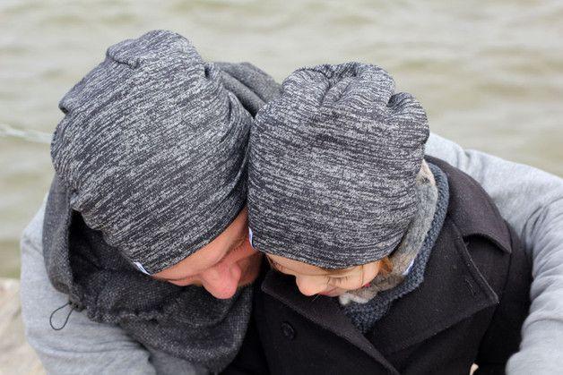 Hipster Beanie: Weiche Mütze im Partnerlook für Papa und Sohn / hipster beanie: cozy hat in partner look for dad and son made by pickNicker_blue via DaWanda.com