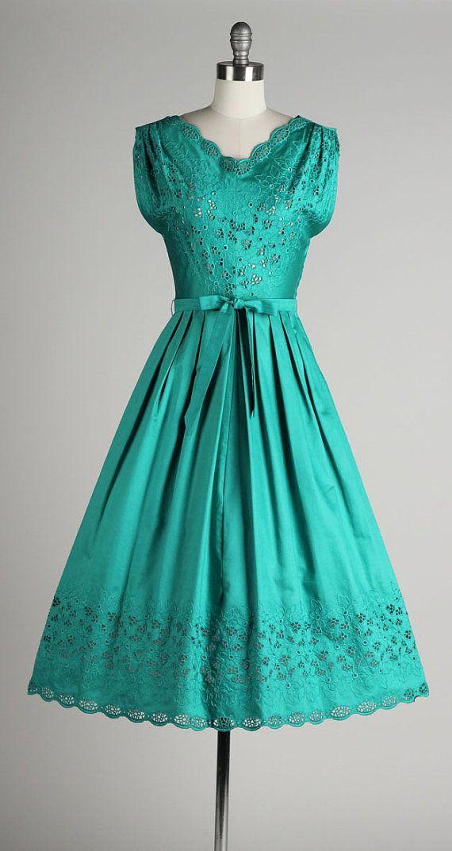vintage 1950s dress . teal green brushed by millstreetvintage