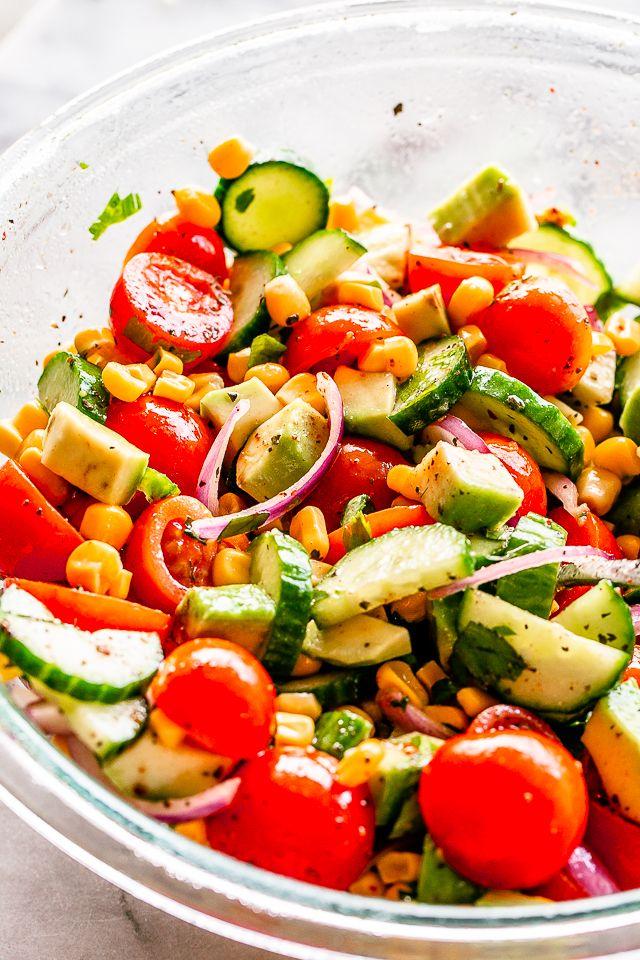 Tomato Avocado Corn Salad with Lime-Cumin Vinaigrette – Simple, delicious, and r…