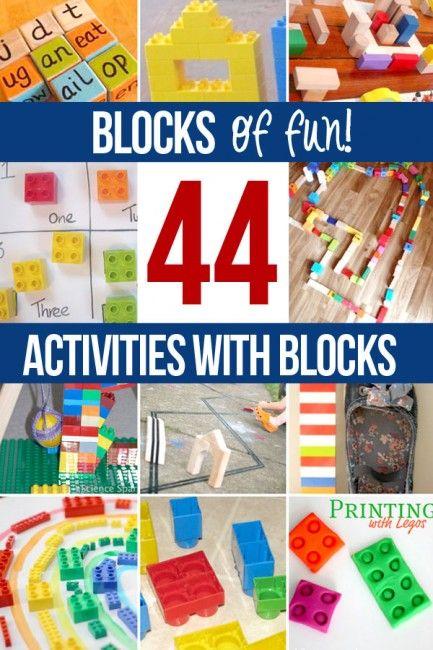 Lots of block activities for kids to do - wooden blocks, ABC blocks, Lego bricks.