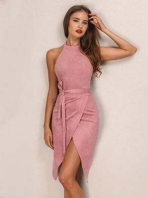 Backless Suede Dress