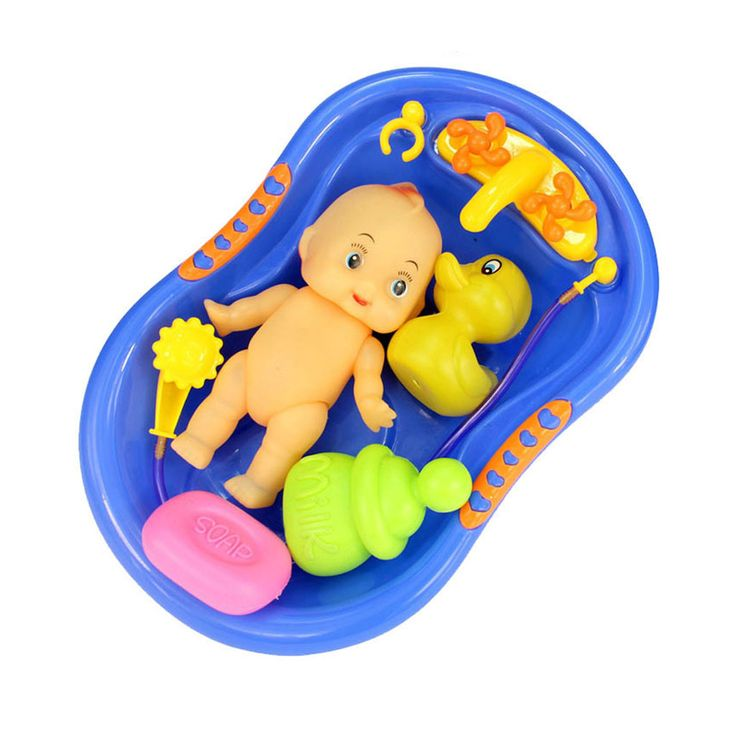 Blue Plastic Bathtub with Baby Doll Bath Toy Set